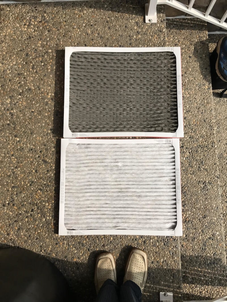 New furnace filter and dirty furnace filter changed after 3 months