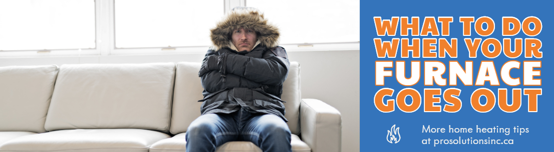 Miserable man sitting on couch with winter jacket on wondering what to do when your furnace goes out.
