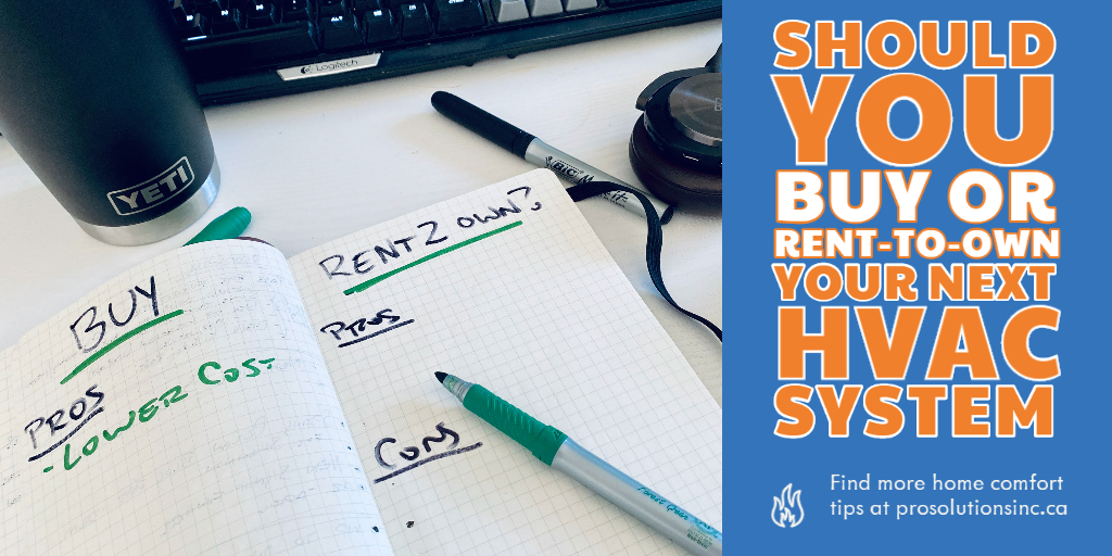 notebook with pros and cons of buying, financing or rent to own a furnace system. White table with Yeti tumbler and B&O H8i headphones.