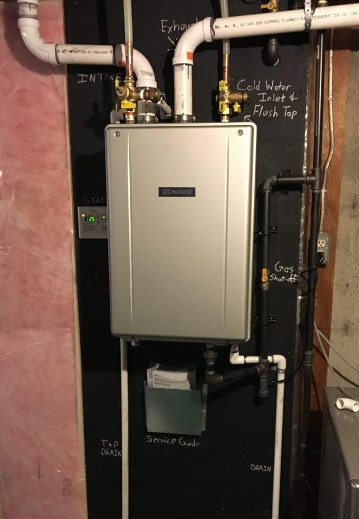 Noritz tankless hot water heater install