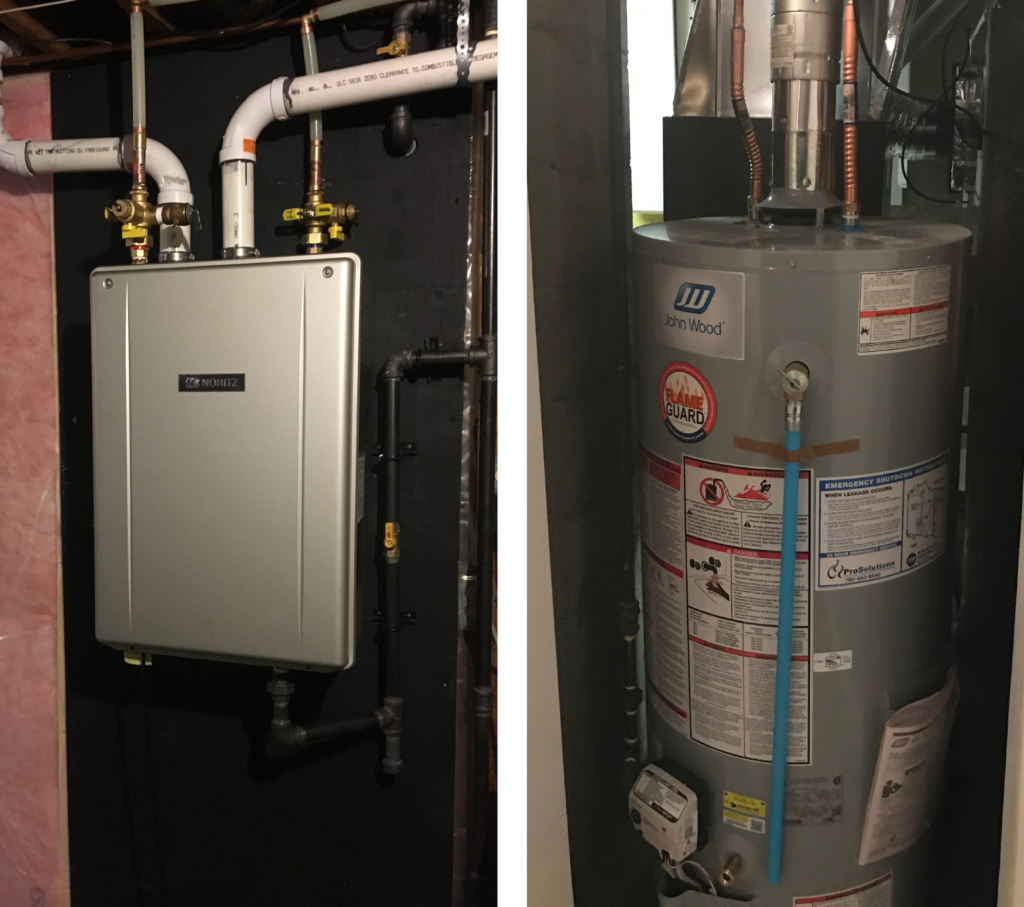 hot water heater buying guide - tankless water heater vs traditional water heater